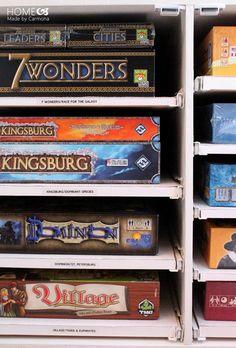 Ideas Board Games Storage Ideas Ikea For 2019 Board Game Shelf, Board Game Storage, Board Game Organization, Ikea Regal, Kids Party Games, Tabletop Games, Storage Solutions, Storage Ideas, Storage Shelves