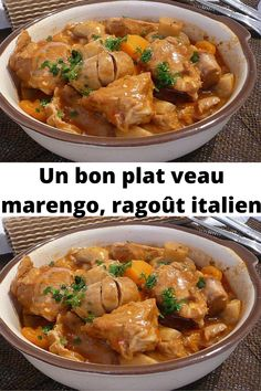 Marengo veal is a delicious casserole dish. Thanks to its cooking time, the veal is delicately tender and flavored with the shallots, onions and the bouquet garni. Crockpot Recipes, Chicken Recipes, Cooking Recipes, Italian Stew, Batch Cooking, Best Dishes, Healthy Dinner Recipes, Ethnic Recipes, Food