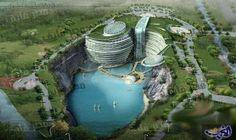 """فندق الحفرة في الصين لمفضلي الغرابة والراحة في آن واحد: يقع فندق الحفرة في الصين في مدينة شنغهاي تحديدًا مبني في حفرة كانت عبارة عن """"محجر…"""