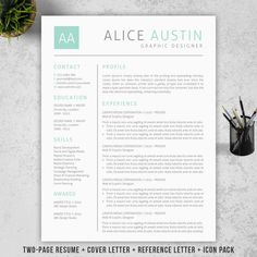 Top Resumes Templates Endearing Resume Template  Cv Template With Cover Letter  Ms Word On Mac .