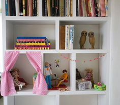 doll house rooms/imagination rooms in cubbies/shelves