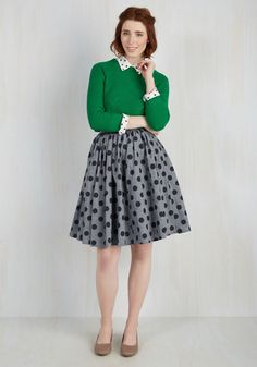 Saturday Sojourn Skirt by ModCloth - Cotton, Woven, Blue, Polka Dots, Casual, Fit & Flare, Exclusives, Private Label, Full, Top Rated, Work, Press Placement, Mid-length, Winter, 50s, Colorsplash