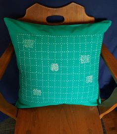 This pillow cover is hand stitched on a pea green cotton using only DMC thread. It will add a pop of colour and texture to any room. Color Pop, Colour, Green Cotton, Hand Stitching, Pillow Covers, Patches, Throw Pillows, Texture, Room