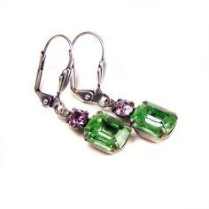 SOLD: Green Jewel Earrings by Blucha