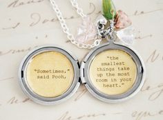 womens jewelry | Women's Locket - Friendship Jewelry - Winnie the Pooh Quote ...