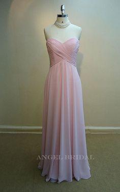 Simple+Pink+Chiffon+Long+bridesmaid+dress+bridal+by+AngelBridal,+$119.99