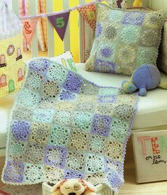 Baby Pram & Cot Blanket, And Cushion Cover, Crochet Pattern. DK ( 8 Ply ) Yarn. Cot Blanket Size: 102 x 102 / 40 x 40. Pram Blanket Size: 62 x 72 cm / 24.5 x 28. Cushion Size: 41 x 41 cm / 16 x 16. Crochet Hook Size: 5.00 mm / UK 6 / USA H 8 - 4.00 mm / UK 8 / UAS F 5. This is a PDF file ONLY of the original pattern book. NOT THE ORIGINAL PATTERN BOOK, COPY ONLY This is NOT THE FINISHED ITEM! No refund for Digital Downloads. Instant Download as soon as payment is received. You can a...