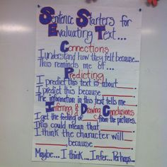 Sentence Starters/Stems for Evaluating Text. Teaching Time, Teaching Reading, Teaching Tools, Teaching Ideas, Literacy Strategies, Comprehension Strategies, Reading Strategies, Sentence Stems, Sentence Starters