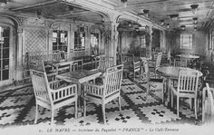 The elegant First Class Café-Terrasse of the France of 1912, flagship of the Compagnie Générale Transatlantique/The French Line. This space was quietly inspired by a similar feature on Cunard's Mauretania of 1906. From the private collection of John Cunard-Shutter.
