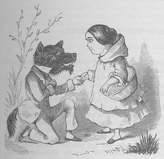 Ilustração para Chapeuzinho Vermelho numa versão atribuída a James N. Barker, publicada na Revista de Inteligência e Humor - 1827
