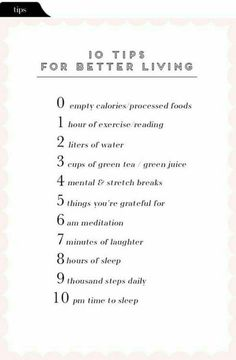 10 Things to do daily ~ With optimal health often comes clarity of thought. Click now to visit my blog for your free fitness solutions!