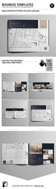 Nego Architecture Portfolio US Letter Landscape Brochure Template InDesign INDD