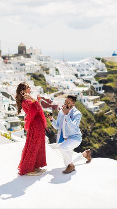 A proposal in Santorini Greece <br> Wedding Couple Poses, Pre Wedding Photoshoot, Couple Posing, Couple Shoot, Wedding Shoot, Wedding Couples, Photoshoot Ideas, Wedding Ideas, Couple Photography