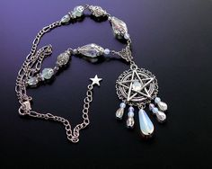 White Pentacle Necklace pentagram necklace by AuroraEventide