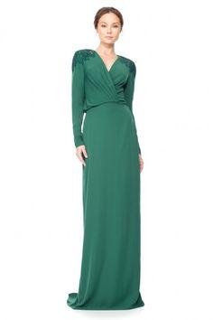 Tadashi Shoji - Whimbrel Gown green long sleeves