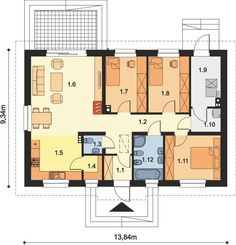DOM.PL™ - Projekt domu ARP TRACJA 2 CE - DOM AP2-14 - gotowy koszt budowy Affordable House Plans, 100 M2, Simple House Plans, Home Projects, Building A House, Floor Plans, House Design, How To Plan, House Styles
