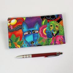 Dogs Checkbook Cover Duplicate Checks Pen Holder by QuiltSewCover
