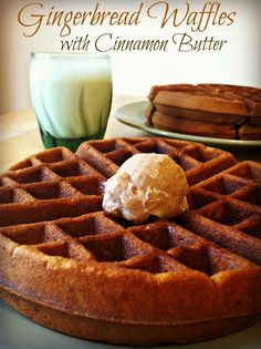 Gingerbread Waffles With Cinnamon Butter, a Great Choice For Breakfast! - Sincerely, Mindy #blogherholidays christmas morning breakfast, cinnamon butter, gingerbread waffles, christma breakfast, choic, kids, maple syrup, whipped cream, christmas breakfast