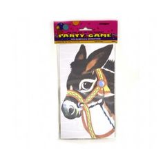 Pin the tail on the Donkey consists of a picture of a donkey, 12 tails and a blind fold.