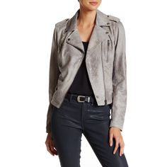 BNCI by Blanc Noir Distressed Faux Suede Moto Jacket ($70) ❤ liked on Polyvore featuring outerwear, jackets, grey, faux suede jacket, grey biker jacket, gray moto jacket, asymmetrical zipper jacket and moto jackets