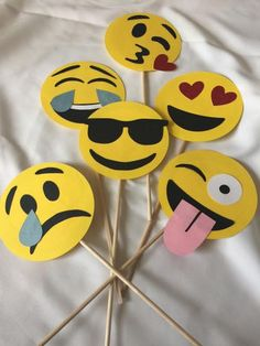 6 Pack of Emoji Photo Booth Props by CindyGCastillo on Etsy
