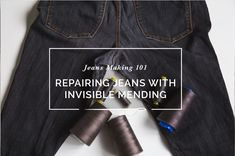 """Use our """"invisible"""" mending technique to repair jeans and denim on a home sewing machine! Repairing jeans has never been easier with this free sewing tutorial."""