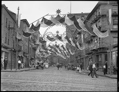 North Street in the North End, decorated for Saints Day. June 23, 1929. Boston Public Library via Flickr.