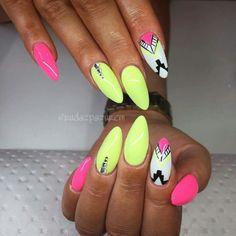 Polygel Nails, Pointy Nails, Neon Nails, Cute Nails, Hair And Nails, Summer Acrylic Nails, Spring Nails, Summer Nails, Indian Nails