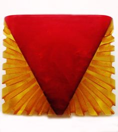 Vintage Red and Yellow Carved Bakelite Button.