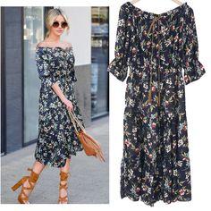 ZJ-PNARL Vantage Women Dresses Casual Summer Dress Print Slash Neck Pleated Off The Shoulder Chiffon Dress
