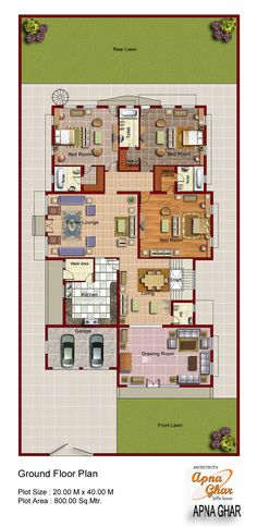 2D Floor plan for modern duplex (2 Floor) house. Area: 800 sq. m (20mx40m)  Click on this link (http://www.apnaghar.co.in/pre-design-house-plan-ag-page-63.aspx) to view free floor plans (naksha) and other specifications for this design. You may be asked to signup and login. Website: www.apnaghar.co.in, Toll-Free No.- 1800-102-9440, Email: support@apnaghar.co.in