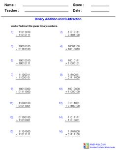 Adding and Subtracting Binary Worksheets