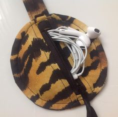 Tiger Print Fabric Circular Zippered Earbud Pouch with by sewmoira