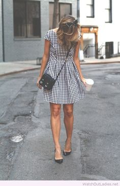 Lovely gingham dress with black accessories