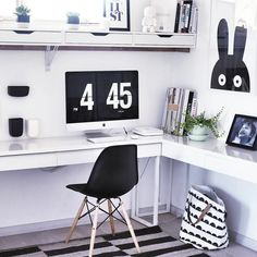 Black & white home office with Ikea 'Besta Burs' desk