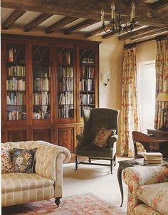 library / reading room. An entire wall of books! Built-in bookshelves so high you need a ladder. Lovely!