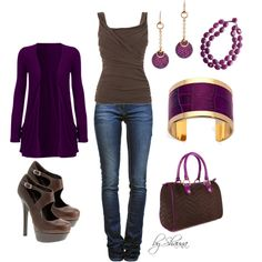 """Purple and Brown"" by shauna-rogers on Polyvore..omg omg omg love these colours!"