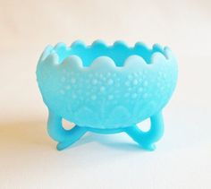 Fenton Frosted Blue Milk Glass Bowl Vase Planter ...Soft and Pretty