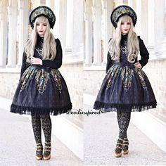 The gothic lolita look is amazing!  @vanillasyndrome  JSK Code: NL-033  Bonnet Code: NL-036 ➡️www.devilinspired.com #devilinspiredofficial #devilinspired #lolita #gothiclolita #lolitafashion #bonnet #jsk