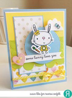Reverse Confetti   www.reverseconfetti.com   February Release   Hippity Hoppity   Easter Card by Susan Liles