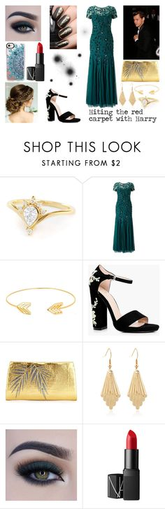 """""""At the Red Carpet with Harry"""" by amld-styles ❤ liked on Polyvore featuring Adrianna Papell, James Bond 007, Lord & Taylor, Boohoo, Nancy Gonzalez, Too Faced Cosmetics, NARS Cosmetics and Casetify"""