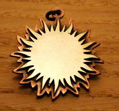 Sun pendant, brass and copper , metalwork pendant