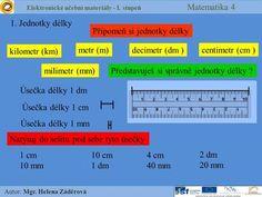 Elektronické učební materiály - I. stupeň Matematika 4 Autor: Mgr. Helena Záděrová 1. Jednotky délky Připomeň si jednotky délky milimetr (mm) Úsečka délky.