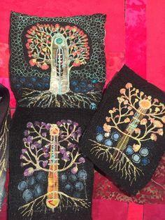 Gordana Brelih embroidery on felt Mensboom Creative Embroidery, Embroidery Ideas, Machine Embroidery, Art Textile, Textiles, Fabric Art, Wearable Art, Fiber Art, Brooches