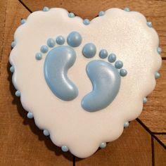 Sweet baby feet cookie. Part of a set. #justdarlicious #BabyBoyCookie #HeartCookie #BabyFeetCookie #BabyFeet #BabyShowerCookie…