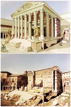 Roman Temple +++ drawing by Andrea Tosolini #RomanHistory