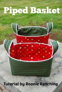 Tutorial: Piped fabric basket CUTE IDEA:   Watermelon Theme.  Green striped outside, watermelon inside