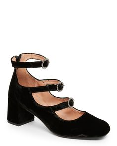 Status Black Square Toe Low Heel Jeweled-Buckled Shoe