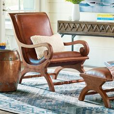 Curl up with a good book: the timeless form and endless comfort of the leather-and-teak Augusto chair and matching ottoman combine to make a work of art     that's also a pampering retreat. Skilled artisans have attended to every detail, from the braided leather stitching, to the hand-applied nailhead trim      a testament to fine quality and noble sensibilities of this traditional design. Add Augusto to the living room or the office and enjoy the     deeply reclining seat all while you...