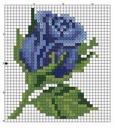 Rosa azul, flor, ponto cruz                                                                                                                                                                                 Más